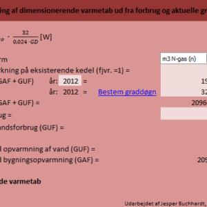 Beregning af varmetab ud fra aktuelle graddøgn